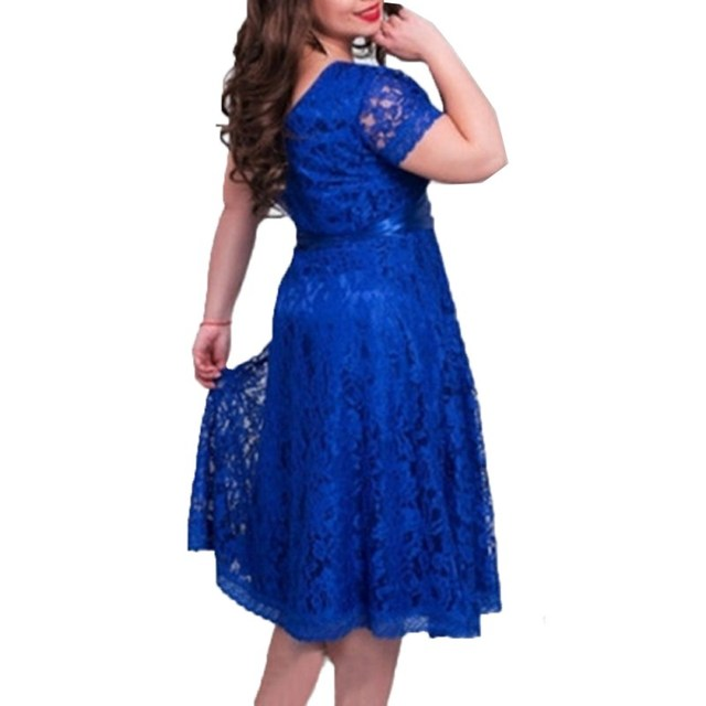 Sexy Dress European Style Vintage Lace Dresses For Women Elegant Dress Fit and Flare Empire Sashes Party Midi Dresses Plus Size
