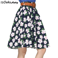 12 OAKS OF KATY Europe America Women Floral Print Skirt Elastic Waist Knee Length Elegant A