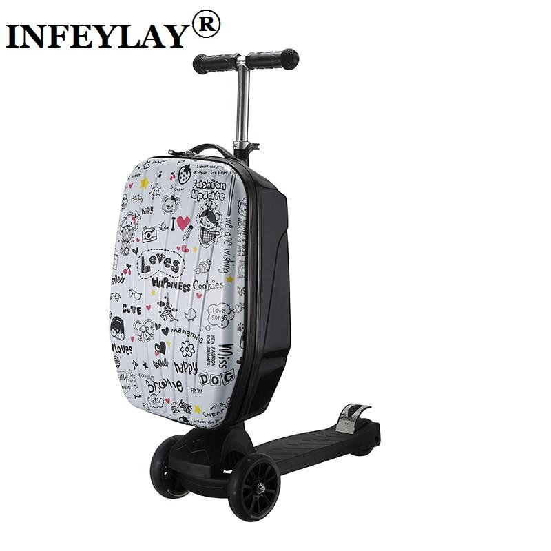 цены на 21 inch students scooter suitcase boy cool trolley case 3D extrusion High quality PC separable Travel luggage child Boarding box в интернет-магазинах