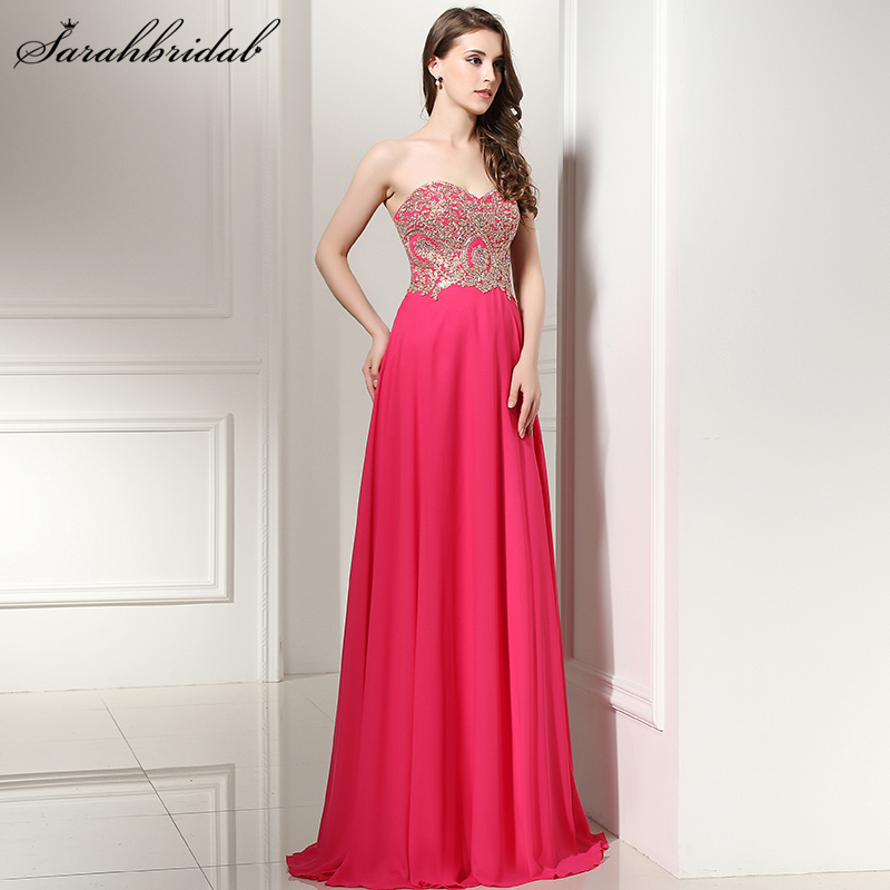 3de39220fd In Stock Fuchsia Prom Dresses Cheap Sweetheart Long Chiffon Embroidery Top  Lace up Back vestido de Evening Party Gowns LSX214