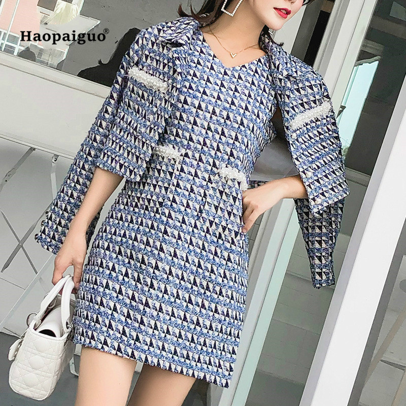 2 Piece Set Autumn Women 2018 Fashion Blue Long Sleeve Turn-down Collar Vintage Elegant Woollen Top and Party Plaid Mini Dress