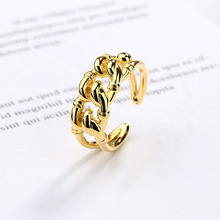 Silvology 925 Sterling Silver Weave Chain Rings Gold Creative High Quality Japan Style for Women 2019 Office Jewelry Gift