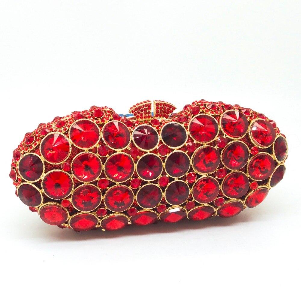 ФОТО Women Hollow Out Siam Red Diamond Crystal Mini Evening Wedding Party Box Clutch Handbag Purse Golden Metal Hardware Clutches Bag