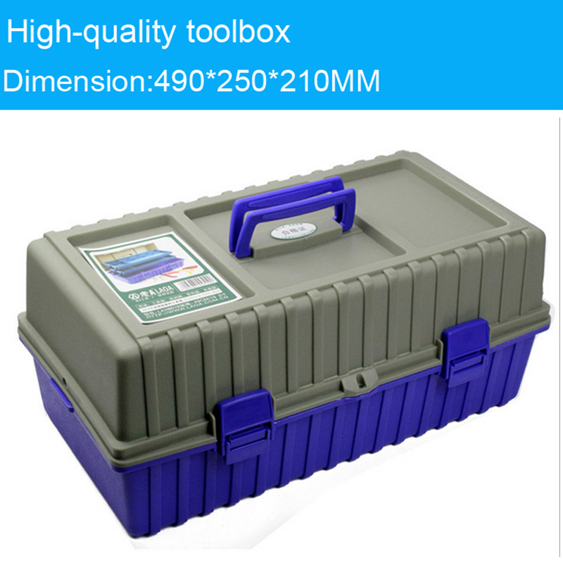 Multi-function thickening toolkit Plastic toolbox Three layers of folding tool case 49*25*21cm Protective Case Instrument boxMulti-function thickening toolkit Plastic toolbox Three layers of folding tool case 49*25*21cm Protective Case Instrument box