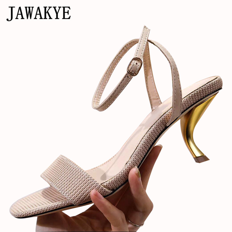 Metal Pipe high Heels Women Sandals ankle strap Real Leather Office Ladies Dress Shoes runway design