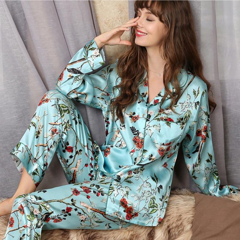 Real Silk Pajama Sets Female Fashion Printed 100% Silkworm Silk Long-Sleeve Two-Piece SILK Woman's Sleepwear Thin Summer T8166