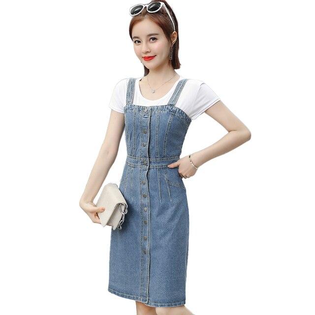 965d582ba18 Fashon 2018 summer denim Dress Women Slim Sexy Washed Suspender  Single-breasted Jeans Dress Sundress long Dress vestidos