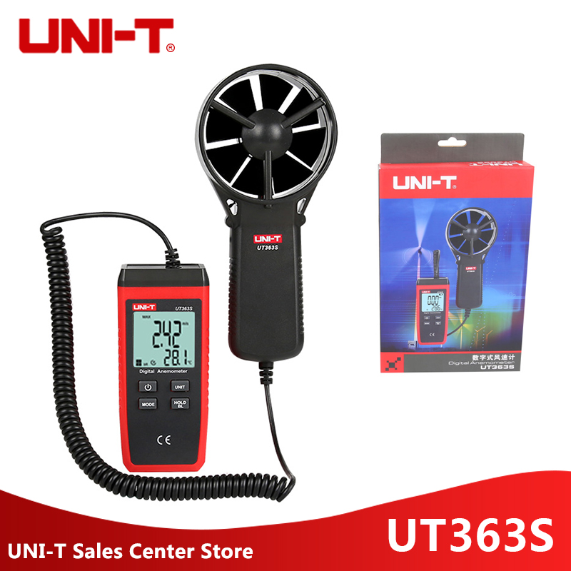 UNI T UT363S Digital Anemometer Mini Wind Speed Temperature Tester LCD Display Air Flow Speed MAX
