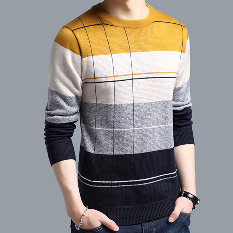 2018 brand social cotton thin men's pullover sweaters casual crocheted striped knitted sweater men masculino jersey clothes 5066 2