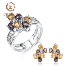 GEM'S BALLET Natural Smoky Quartz Citrine Earrings Ring Set Fine Jewelry Luxury 925 Sterling Silver Bridal Jewelry Set For Women