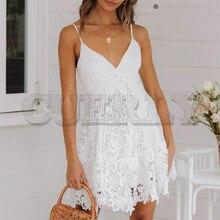 CUERLY Sexy v neck embroidery lace dress women Summer spaghetti strap plus size cotton vestidos Female white party club dresses