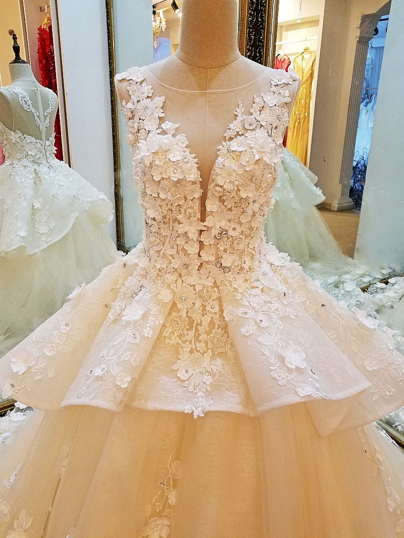 8ae77993c8280 LS53796 luxury bridal wedding dresses 2017 beaded crystal ball gown flowers  long tail wedding dresses 2017 real photos -in Wedding Dresses from ...