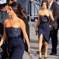 2014 Selena Gomez azul marino parte vestidos sin tirantes de encaje con Stain Formal vestidos hasta la rodilla de hendidura Celebrity vestidos con cinturón