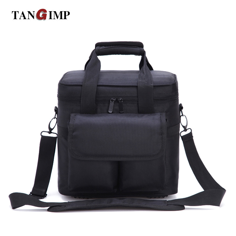 купить TANGIMP 12L Portable Cooler Bags Thermal Lunch Bag for Women Men Storage Tote Picnic Food Insulation Box Black 2 Pockets Front по цене 1632.85 рублей