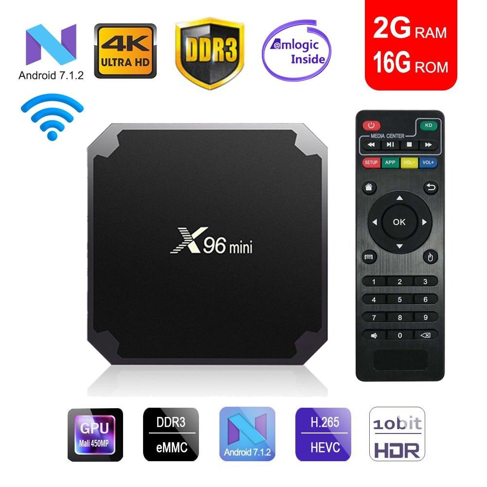 X96mini tv box android 7.1 smart tv WiFi 4 K 2 GB 16 GB Amlogic 1 GB 8 GB S905W tvbox quad Core WiFi Media Player X96 mini Set top