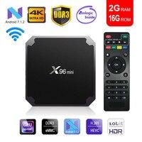 X96mini tv box android 7,1 smart tv WiFi 4 K 2 GB 16 GB Amlogic 1 GB 8 GB S905W tvbox четырехъядерный WiFi медиаплеер X96 mini Set top