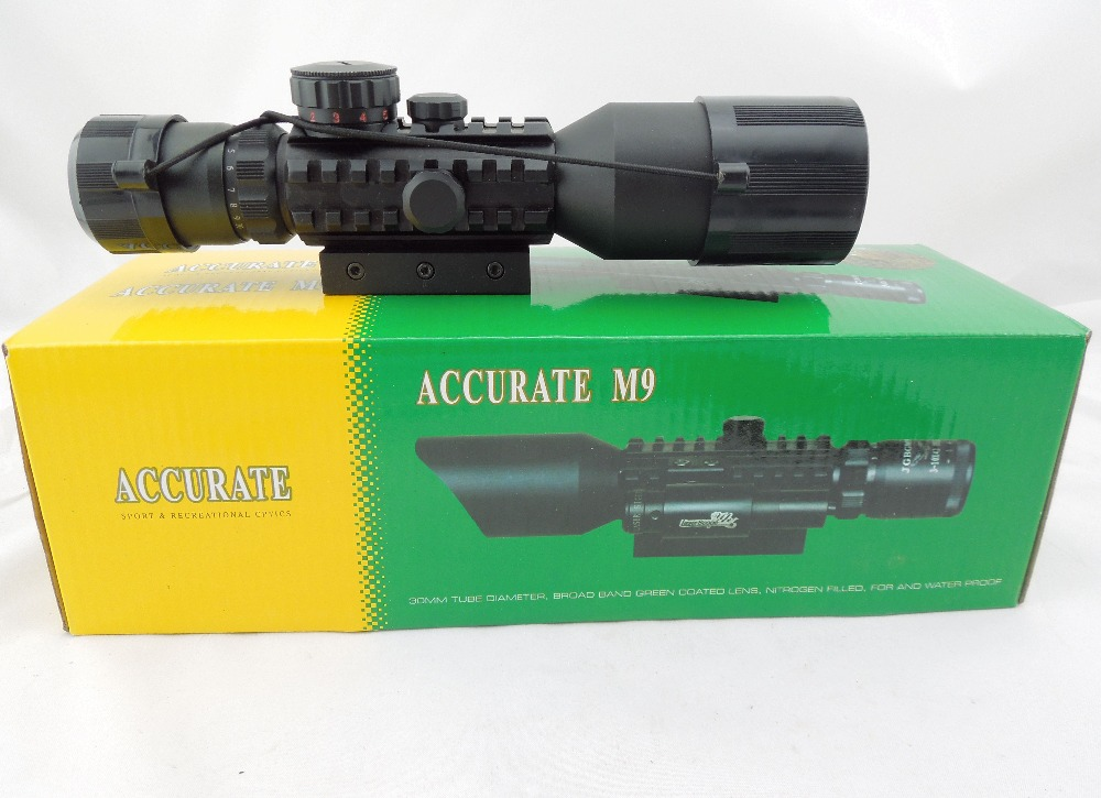 Free Shipping 3-10X42E Tactical Optical Laser Sight M9D Air Gun Rifle Scope With Side Mounted & Flashlight For Hunting Glock free shipping tactical 3 10x42 m9d rifle scope red green mil dot reticle with side mounted green laser and flashlight