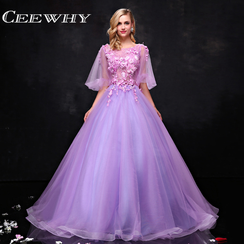 Elegant Embroidery Embellishment Ball Gown Traditional: Custom Made Lavender Embroidery Appliques Half Sleeve