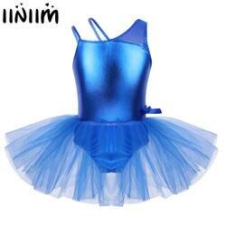 Iiniim дети обувь для девочек лирические Костюмы бретели с Сращивания Бантом танцевальная одежда балерина гимнастика Купальник Танцы платье