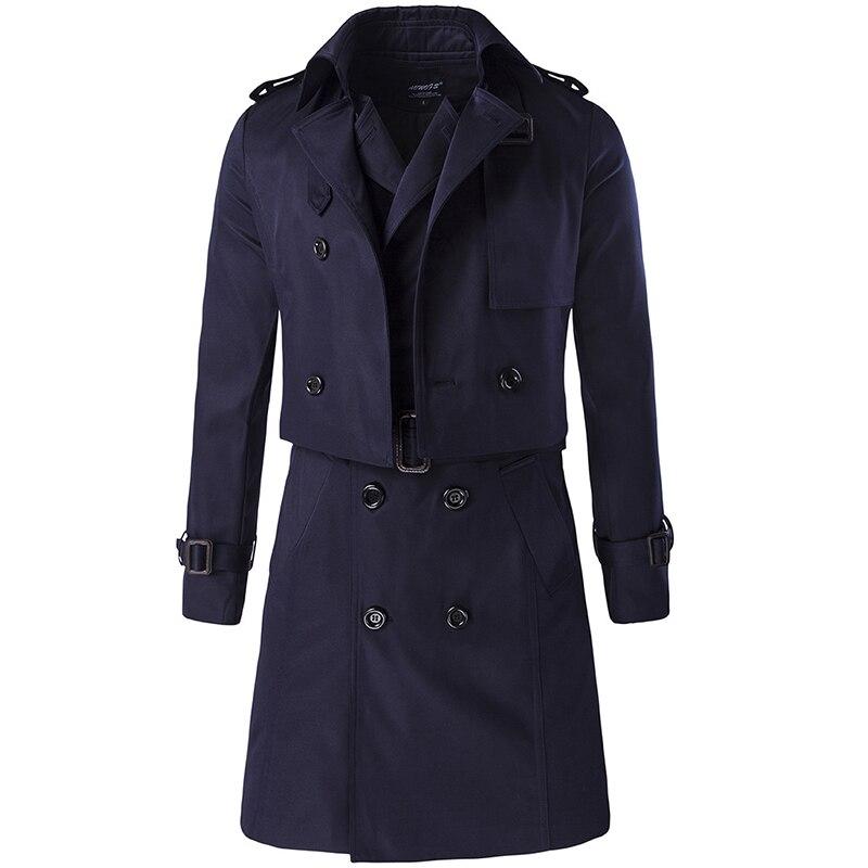 2016 Neue Verkauf Herbst Männer Langarm Trench Zweireiher Mantel Zweiteilige Set Fashion Coat Herren Tops Kleidung Masculino