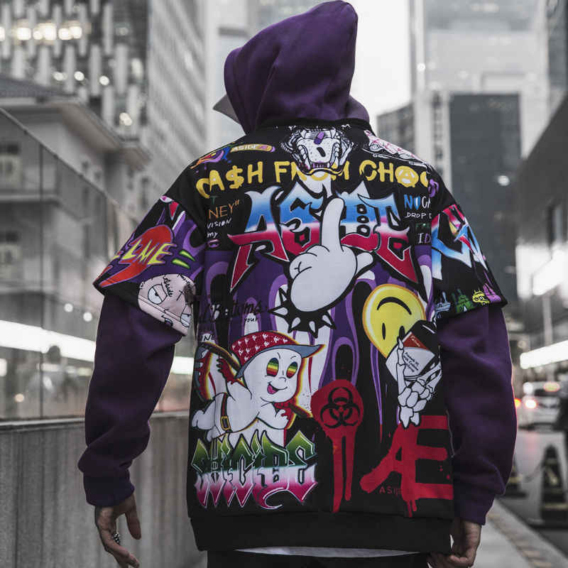 Hip Hop Graffiti Hoodie Men Fleece Pullover Harajuku  Casual Streetwear