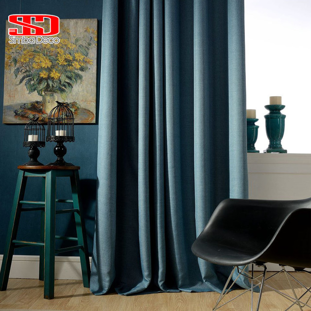 Solid Faux Linen Plain Blackout Curtains For Living Room Modern Style Navy  Drapes Window Curtains For