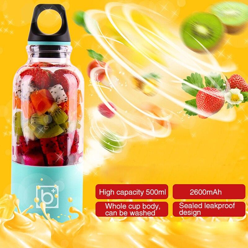 500 ml portátil taza exprimidor USB recargable eléctrica automática Bingo verduras jugo de frutas Copa Blender Mixer botella