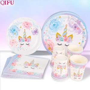 Image 1 - QIFU Единорог товары для вечеринок одноразовая посуда единорог украшение для дня рождения первый мой маленький пони день рождения девочка мальчик Единорог