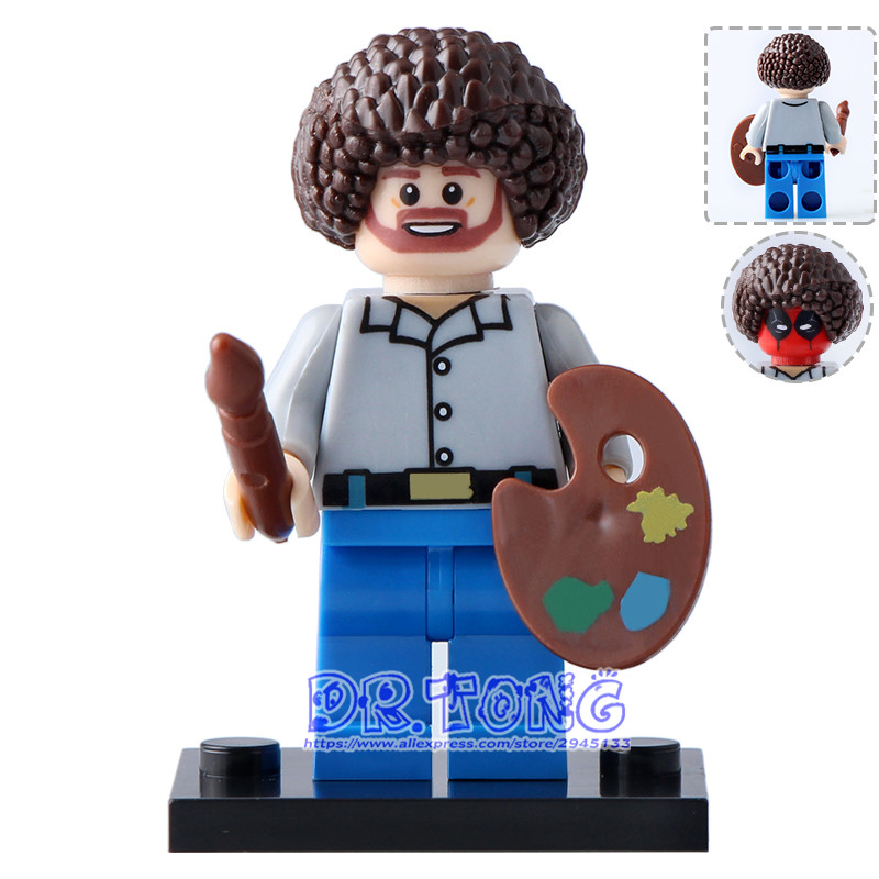 DR.TONG Single Sale KF982 Building Blocks Super Heroes Bob Ross American Painter The Joy of Painting Bricks Education Toys Gift single sale building blocks super heroes bob ross american painter the joy of painting bricks education toys children gift kf982