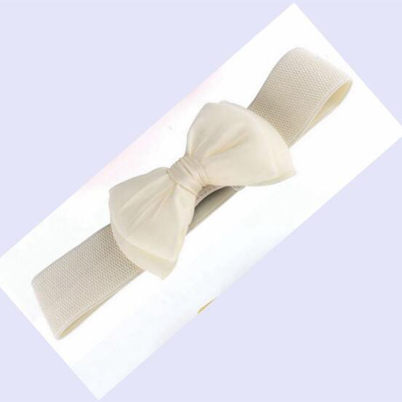 Gizmosty 1 Pcs Women Belt Lace Bowknot Cummerbunds Elastic Bow Wide Stretch Wais