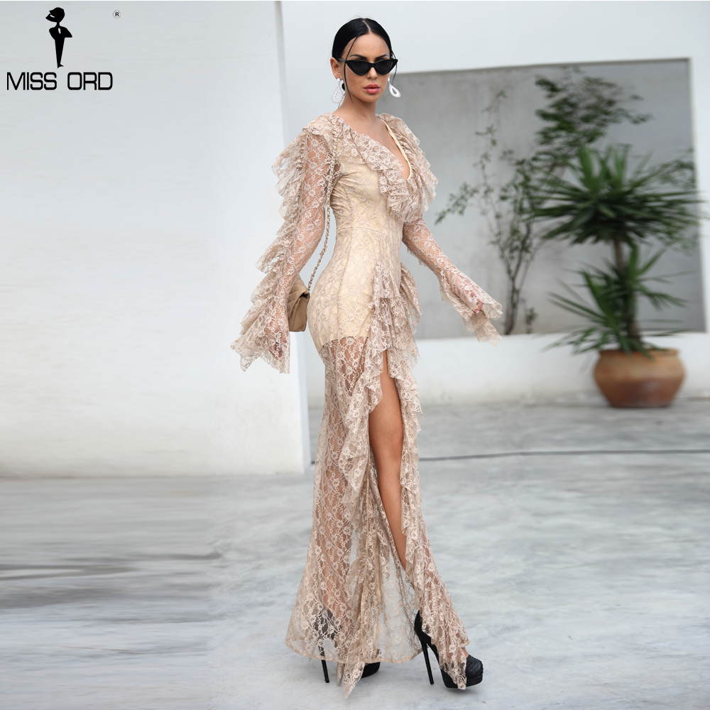Missord 2019 WINTER Sexy Deep V Ruffles Long Sleeve Female Elegant Ovaralls High Split See Through   Jumpsuit   FT9561