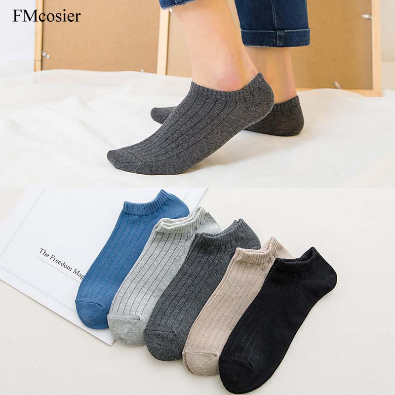 10 Pairs Spring Summer New Fashion Men No Show Invisible Non-slip Sheer Cotton Socks Male Ankle Socks For Mens Black Blue Gray