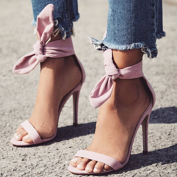 Newest Brand Designer Pink Yellow Suede High Heel Sandals Ankle Big Bowknot Gladiator Sandal Shoes Single Strap Thin Heel Pumps