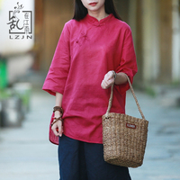 LZJN 3/4 Sleeve Long Blouse 2019 Summer Autumn Tunic Tops for Women Traditional Chinese Clothing Solid Cheongsam Top Qipao Shirt