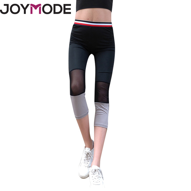 e9c883843783e JOYMODE Women'S Yoga Pants Spring Summer Satin Dye Fitness Sports Cropped  Tight Breathable Quick Dry Running Leggings Mesh -E