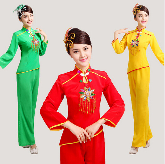 Women Sequined Yangko Dance Costumes Red\green\yellow Long Sleeves Fan Waist Drum Middle-aged Group National Square Dance