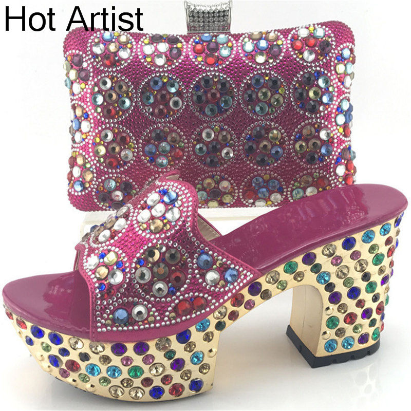 Hot Artist New Design Summer Style Shoes And Bag Set African Women Shoes And Matching Bag Set For Wedding Size 38-42 ME7709 new fashion african shoes and matching bag sets for wedding