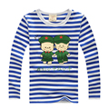 2016 spring children's clothing navy stripe boys long-sleeve T-shirt  kids basic shirt child tops for 2-8 years old
