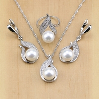 Freshwater Pearl With Beads Jewelry Sets Silver 925 Jewelry Wedding Decoration For Women Earrings Pendant Ring