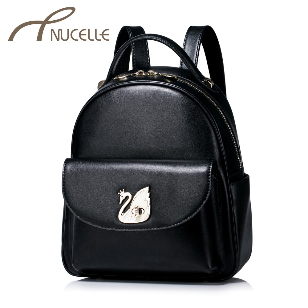 цены  Nucelle Women Split Leather Backpack Ladies Fashion Swan Lock Rucksack Female Sweet Travel Shoulder Bags Girl School Bag 1170935