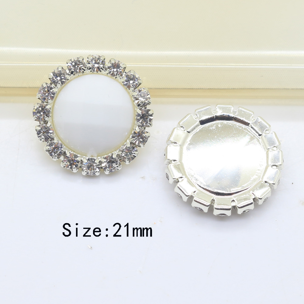 10pcs/lot 21MM Round Stone white Rhinestone buttons Acrylic plastic snap buttons For clothing Wedding Buttons DIY accessory