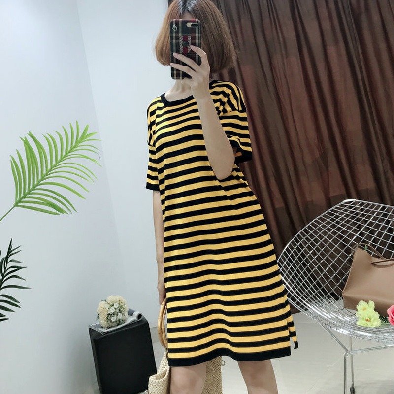 Women Sex O-Neck Striepd Dresses Summer Dresses Knee Length Casual Dresses Boho Korean Style School Girls Knitting Cotton Dress