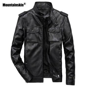 Mountainskin Baru Pria PU Jaket Motor Mantel Berdiri Kerah Pakaian Luar Slim Kulit Mantel Merek Pakaian 6XL SA554