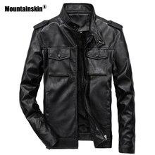 Mountainskin Новый Для мужчин ПУ куртки мотоциклиста Стенд воротник верхняя одежда Slim Fit мужской кожаные пальто брендовая одежда 6XL SA554