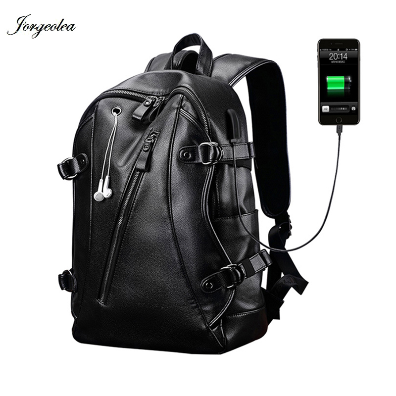 Jorgeolea Men PU Leather Travel Bag Backapck External USB Charge Waterproof Backpack For Men Fashion Casual School Bag E1027Jorgeolea Men PU Leather Travel Bag Backapck External USB Charge Waterproof Backpack For Men Fashion Casual School Bag E1027