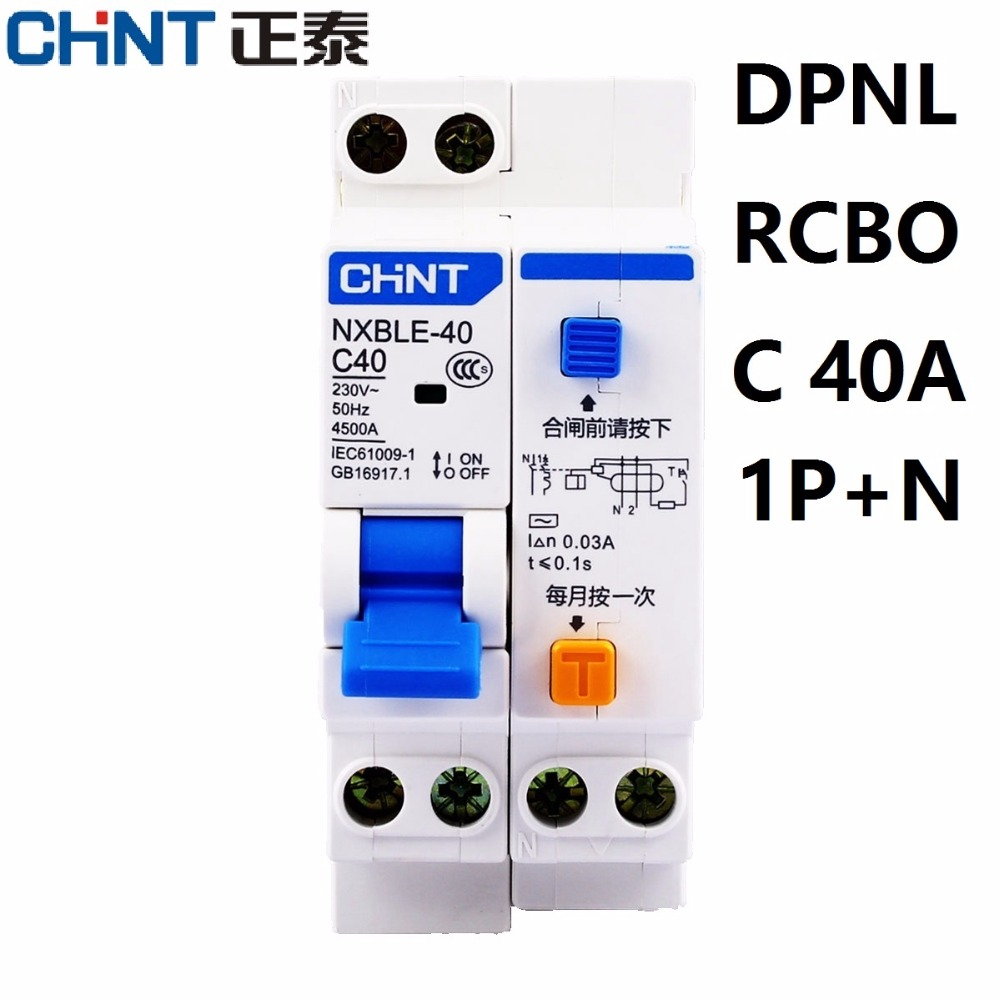 CHINT NXBLE-40 1+N DPNL RCBO 6A 10A 16A 20A 25A 32A 40A 230V 50/60HZ Earth Leakage Circuit Breakers Leakage Protection DZ267LE chnt chint leakage protector nbe7le 3p n 16a 20a 25a 32a 40a 63a small circuit breaker air switch