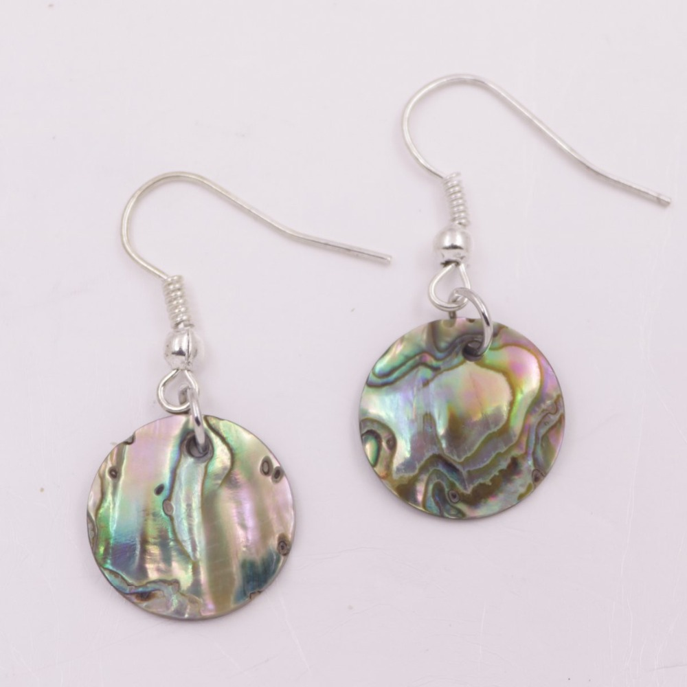 Купить с кэшбэком 10mm 12mm 15mm 30mm Coin Natural Green Abalone Shell Drop/Dangle Earring Choose