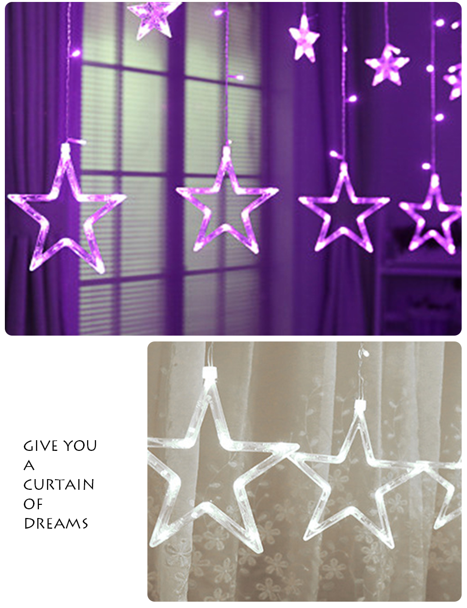 3M Christmas LED Lights 110V 220V Romantic Fairy Star LED Curtain String Lighting For Holiday Wedding Garland Party Decoration (12)
