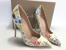 Keshangjia sapatos femininos sexy, novidade de salto alto, sapatos stiletto branco com graffiti colorido, para primavera e casamento