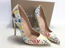 Keshangjia zapatos de tacón alto con grafiti para mujer, calzado Sexy de fiesta, para primavera y boda, color blanco